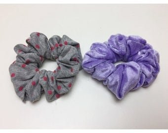 Hair Scrunchies 2 Handmade 90's Inspired Hair Scrunchie Pack Pastel Purple Crushed Velvet Polka Dot  Hair Accessory Two Giant Scrunchies