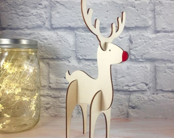 Large 3D Wooden Reindeer Christmas Ornament / Table Decoration