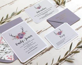 Rustic Antler Wedding Invitations Printable, Custom BoHo Chic Invitations, Woodland Wedding Invitations, Vintage Wedding, RSVP & Detail Card