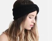 READY TO SHIP / Hand Knit Turban, Chunky Knit Turban, Wool Headwrap, Winter Headband, Warm Womens Turband, Black Turban