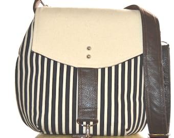 Black Stripe Bound Bucket Purse, Striped Purse, Casual Purse, Bucket Purse, Boho Purse, Handmade Purse, Large Purse, Crossbody Purse