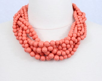 Coral Necklace, Braided Beaded Necklace, Orange Chunky Statement Necklace, Twisted Beads Necklace, Brides Maids