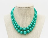 Teal Double Strand Beads - 15 Inch Necklace - Vintage 1960s Green Beaded Necklace