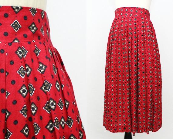 Red Midi Skirt - Vintage 1980s Full Red Novelty Print Skirt