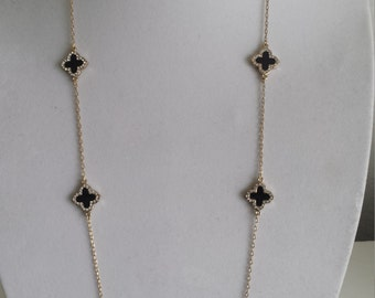 "Gold Clover Necklaces,36"" Long, Black enamel clover with crystal stone,four leaf clover,Valentine's /Mother's day gift,"