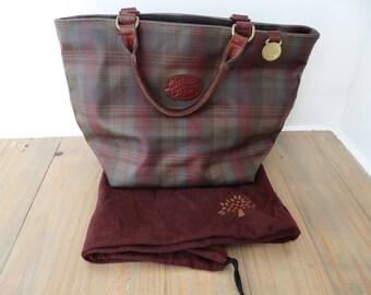 Vintage Mulberry Bag Leather Tartan Scotchgrain Tote Bag Grab Bag dull reds, greens and brown  circa 1980s