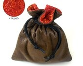 Brown Faux Leather Red/Orange Batik Cotton Lined Dice Bag / Drawstring Pouch
