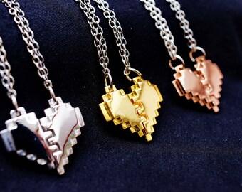 Pixel Heart Zelda Pendant necklace for couple and gamer 8 bits design 18k Gold over brass