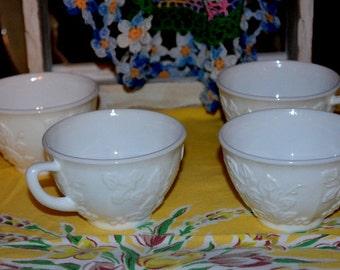 Vintage White Milk Glass Grapevine Design Coffee Cups