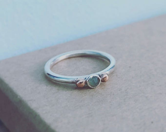 Blue Chalcedony skinny stacking ring polished finish with 9ct Rose gold beads detail