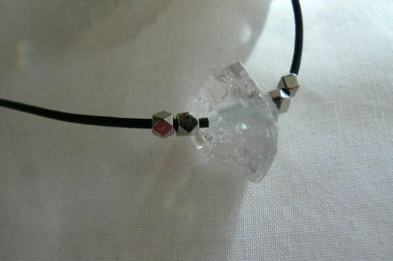 Herkimer diamond pendant -Black leather diamond quartz necklace- Double terminated diamond pendant gemstone- Herkimer leather choker- gift