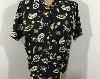 Vintage John Henry Editions Size Small Black Paisley Button Down Shirt