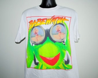 90's Babewatch RARE Vintage Muppets Kermit and Miss Piggy Baywatch Parody T-Shirt