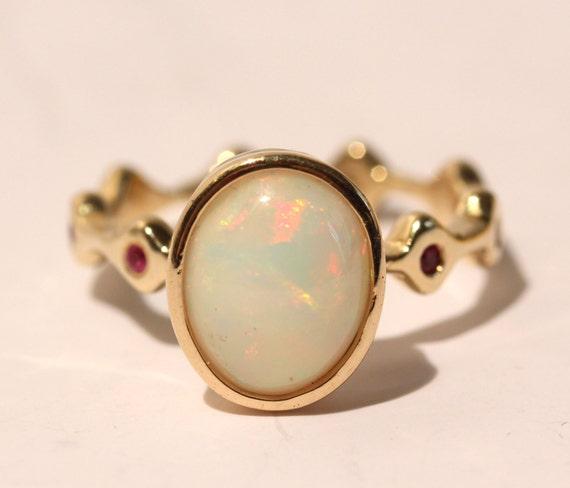 Genuine Opal Ring 14k Gold w/ Diamond Accents - Size 7 - Custom Gemstone Jewelry Watch Video! #1427