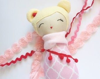 Baby Doll, Cloth Doll, Handmade Doll, Modern Rag Doll, Blonde, Pink and Red