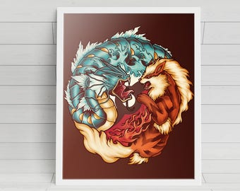 The Tiger and the Dragon signed Poster Art Print - 11x14