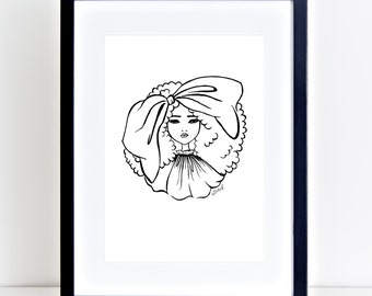 Fashion Illustration, Big Hair Bow, A4, Printable, Atomik