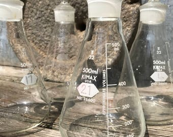 Lab glass beakers with stoppers.