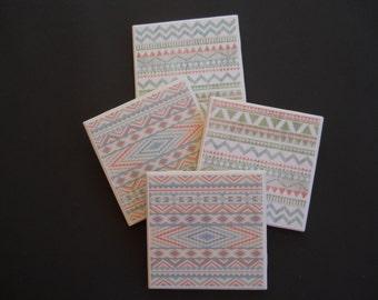 Aztec Coasters ~ Southwestern Decor ~ Ceramic Tile Coasters ~ Housewarming Gift ~ Shower Gift ~ Home Decor ~ Drink Coasters ~ Coaster Set