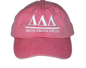 Delta Delta Delta Tri Delta (B) Hot Pink Baseball Hat with White Thread
