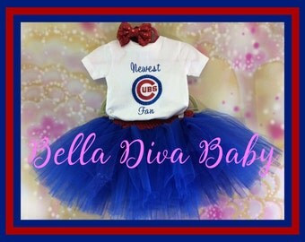 CUBS Fan - Chicago Cubs Tutu and Onesie Embroidery Customize name and color- Baseball onesie- Newest Cubs Fan  - Birthday outfit, photo prop