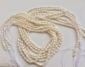 Freshwater Pearls FWP Jewelry Craft Making Bead Supplies Farmed Philippine Seed Pearls Off White Rice Pearls Full Strand Or 25 Pieces