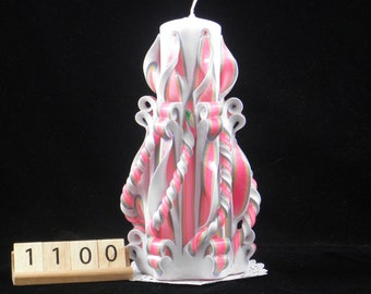 Hand Carved Candle, Neon Rainbow, Side Twist, 7 Inch, Pride, 1100