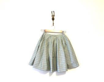 50s Vintage Full Skirt / Hemmed Full Skirt with Extra Fabric / Size Small