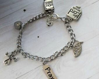 Chain link Charm Bracelet as Bible Jewelry