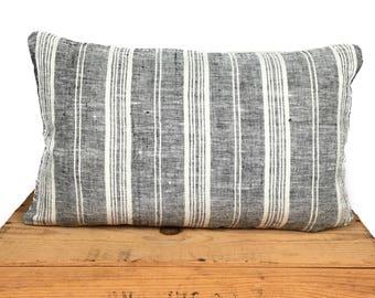 "Grace 100% European Linen Pillow Gray Stripe 12x20"""