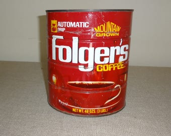 Vintage Metal Folgers Coffee Can 48 Ounces Cup Insignia No Date Found