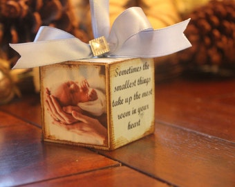 2- Personalized Photo Ornaments Wooden Block customized