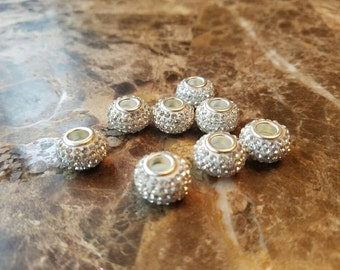Bling silver jewel charms (set of 6) for DIY jobs like hair ties, headbands, bracelets and more