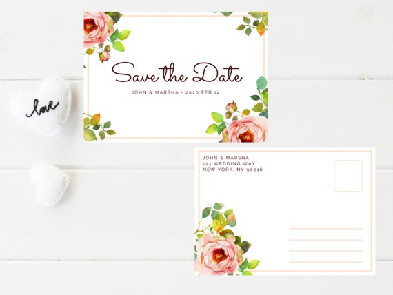 Save the Date Announcement I Floral I Pink Pastel I Watercolor I Rose I Love I Wedding I Save the Date I Marriage