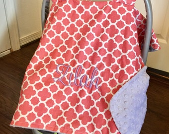Monogram Carseat Canopy for girls, Baby girl personalized gift, baby carrier cover, girl canopy, monogrammed car seat cover, coral lavender