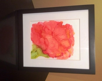 ORIGINAL alcohol ink art. Matted and Framed as Shown