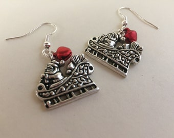 Santa's Sleigh Earrings - Christmas Earrings - Holiday jewelry - Perfect stocking stuffers