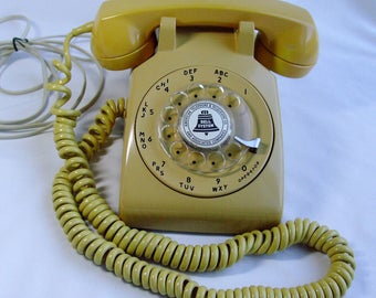 Vintage Western Electric ITT Rotary Dial Telephone 1974 Gold Restored
