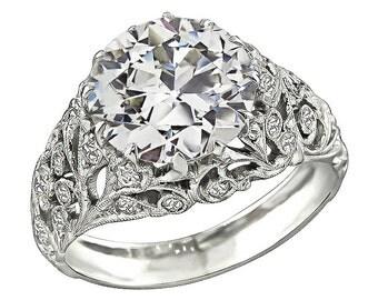 Art Deco GIA Certified 3.36ct Diamond Engagement Ring