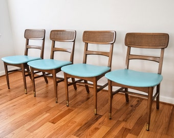 mid century dining chairs, modern dining chairs, sculpted walnut dining chairs with blue vinyl seats, mid century modern, vintage, set of 4