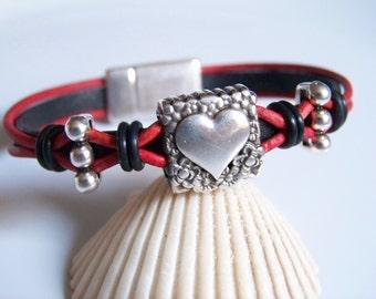 Black and Red Leather Heart Focal Bracelet - Item R6241