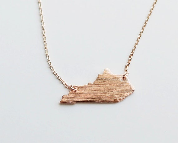 gold kentucky state necklace ky state gold necklace