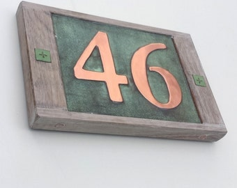 "Real copper house number 3""/75mm or 4""/100 mm, with weathered oak frame custom handmade, 2 x nos. shipped worldwide g"