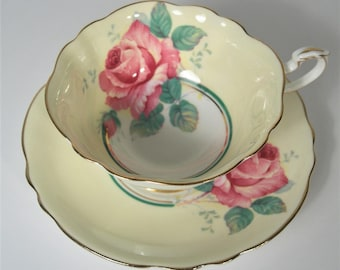 Double Warrant Paragon Tea cup and Saucer,  Yellow tea cup and saucer Set, Large Pink Roses tea cup.