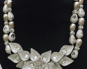African Nigerian Traditional Wedding Engagement Bridal 2 Layered Silver Rhinestone Jewelry set