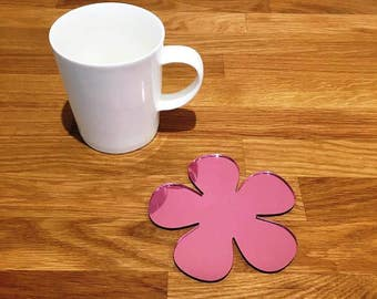 Daisy Shaped Pink Mirror Gloss Finish Acrylic Coasters