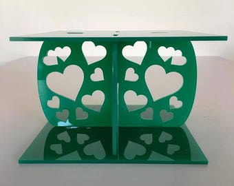 """Hearts Square Green Gloss Acrylic Cake Pillars/Cake Separators, for Wedding / Party Cakes 10cm 4"""" High, Size 6"""" 7"""" 8"""" 9"""" 10"""" 11"""" 12"""""""