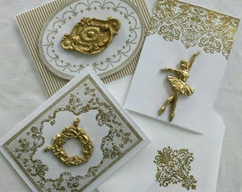 Set of 3 Gold Embellished Note Cards with matching envelopes