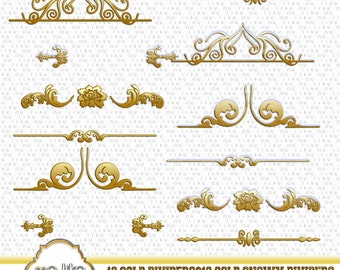 Digital Gold Dividers-Digital Gold Snowy Dividers Clip Art -INSTANT DOWNLOAD- 24 Individual Png - for Personal or Commercial Use  - 300 DPI