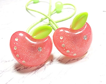 pink glittery apple ponytail holders - hair ties
